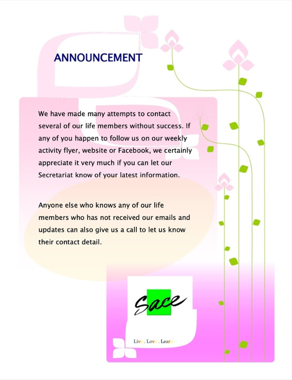 Announcement ref SACE Life members